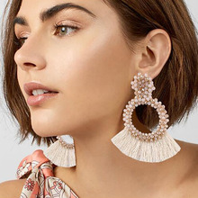 Best lady New Fashion Tassel Dangle Earrings For Women Wedding Party Gift Drop Jewelry Hot Bijoux Statement Earring Wholesale(China)