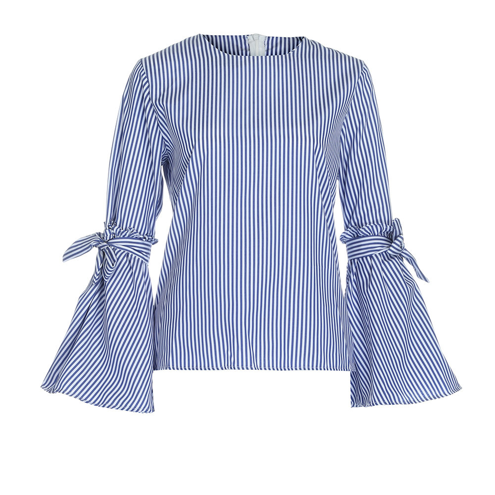 Fashion Women Stripes Blouse Shirt With Bows Tie In The Neck Flare Sleeve Design Feature O-Neck Casual Autumn Blouse Blusa SY9