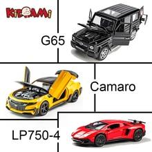 лучшая цена KIDAMI 1:32 Alloy MINIAUTO Camaro G65 SUV Pull Back Diecast car Model series with sound light birthday Gift toys for children