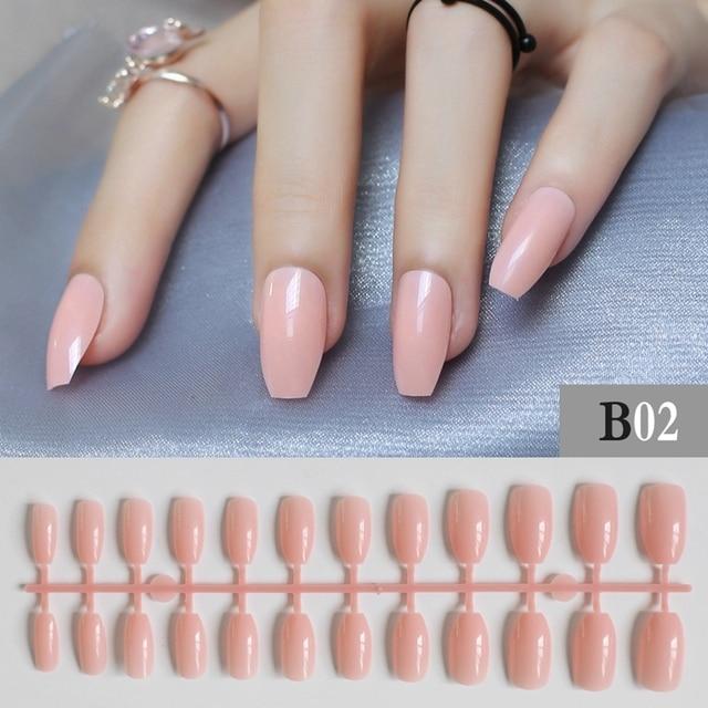 Aliexpress Buy Shrimp Powder Full Nail Simple Artificial Pink