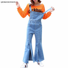 High waist jeans  2107 new style women europe and united states slit jumpsuits flares