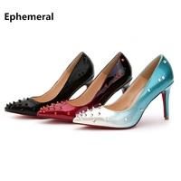 Lady's Sexy Hot Sale European and American Style Rivets Pointy Toe Red Bottoms Plus size 35 43 High heels Women Pumps Nigh Club