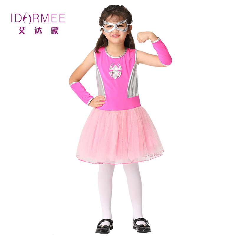 IDARMEE S9278 Spider Girl Costumes Children Spiderman Cosplay Dance Dress Christmas Costume for Kids Halloween Party Dresses
