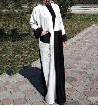 Mirsicas Cardigan pocket Robe Long Dress Middle East Turkey Loose Belt  Dress Robe