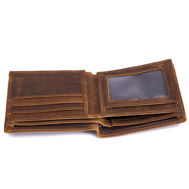 Explosive money retro men 39 s Crazy Horse Leather Multi Function leather wallet short 2 fold head layer cowhide short wallet 53030 in Wallets from Luggage amp Bags
