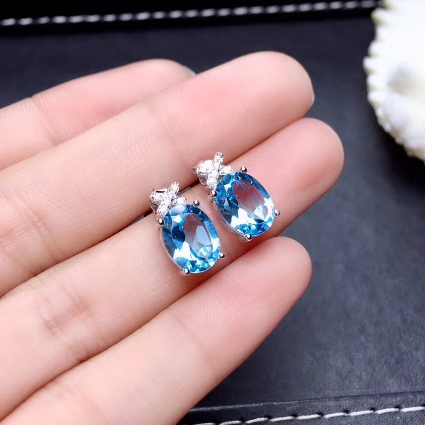 Fashion Elegant  round natural blue topaz stud earrings Natural gem stone earrings 925 silver female earrings party gift jewelry