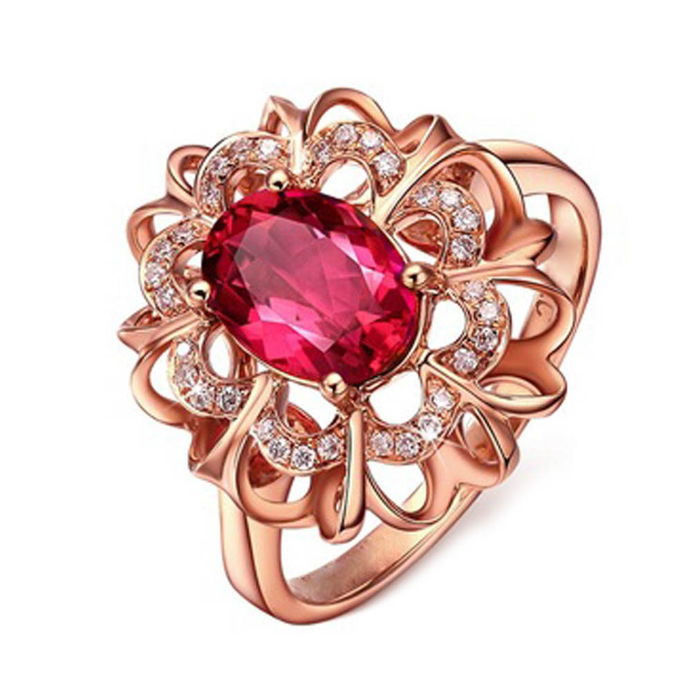 2017 gold color Fashion Ring Jewelry Red CZ Stone Flower ...
