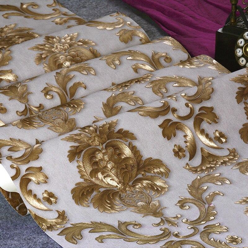 Classique De luxe damassé papier peint rouleau 3D en relief PVC vinyle mur papier décor à la maison salon chambre toile De fond Papel De Parede 3D