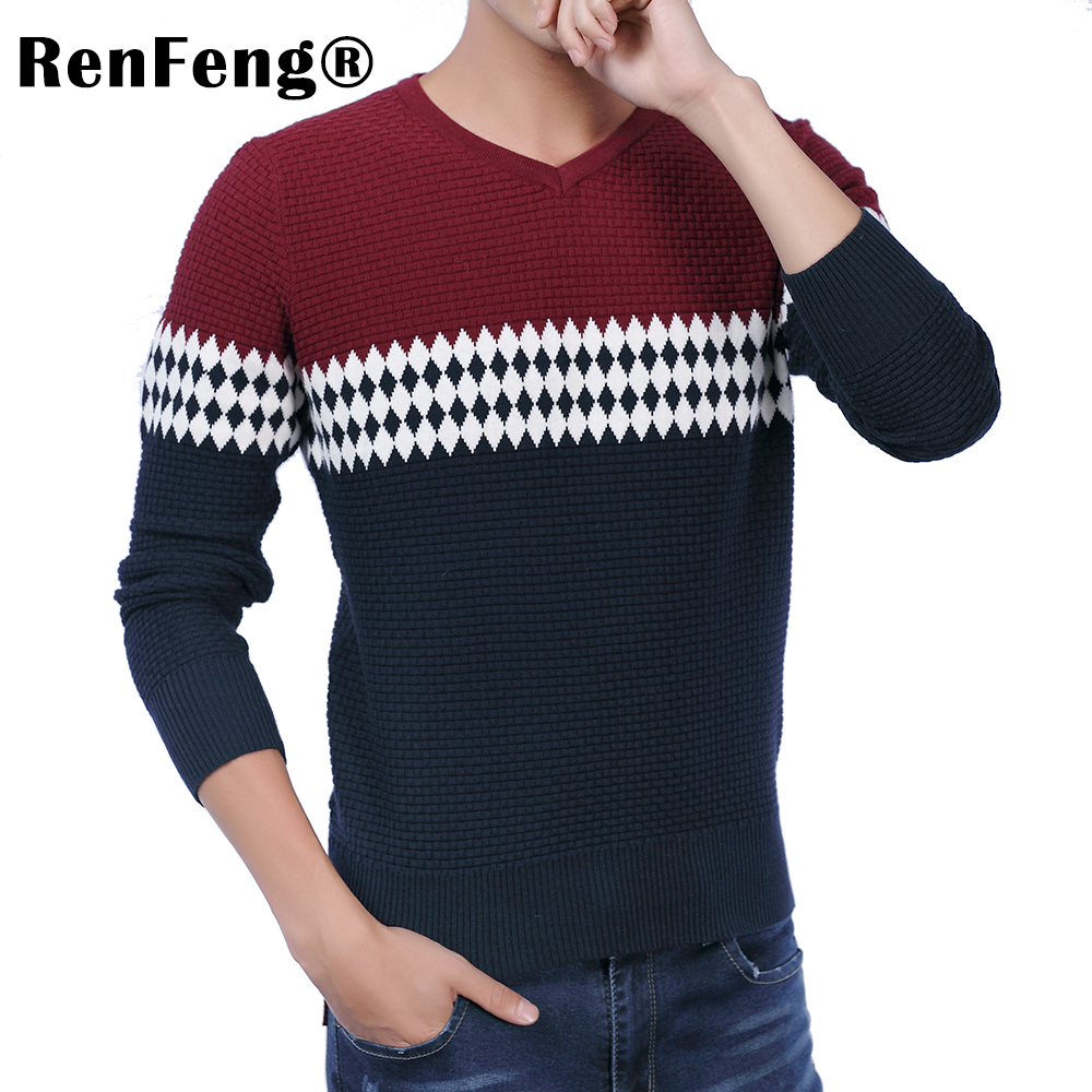 2018 New Autumn Fashion Brand Casual Sweater O-Neck Striped Slim Fit Knitting Mens Sweaters Pullovers Geometric Men Pullover Men