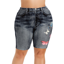 ROSE GAL Women Summer High Waist Denim Shorts 3D Print Butterfly Jeans Plus Size Femme Push Up Skinny