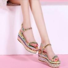 Size 34-39 New Arrival 2016 Summer Girl's Shoes Elegant Flower Platform 5.5 CM Lady Wedge Shoes High Heel Sandals For Women B035