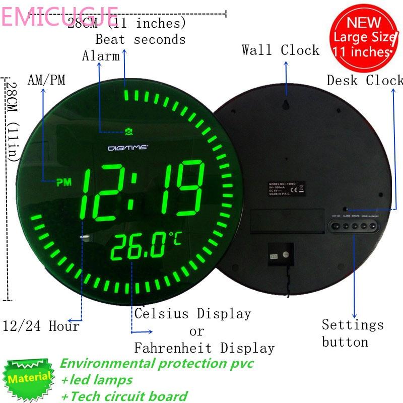 3d Creative circulaire grand Design moderne décoration de la maison grande décorative ronde montre de bureau rouge vert LED horloge murale numérique