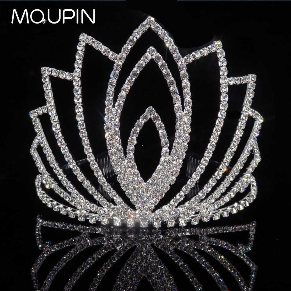 MQUPIN высокой моды Hairwear аксессуары queen принцессы свадебная тиара Корона со стразами Свадебные Для женщин девушки украшения для волос