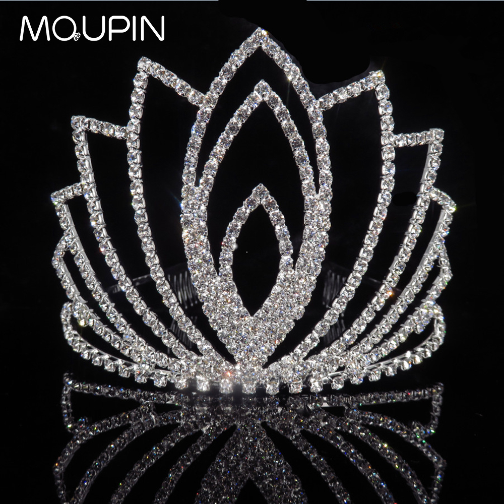 MQUPIN The high Fashion Hairwear Accessories Queen Princess Bridal Tiaras Crown Rhinestone Wedding Women girls Hair Jewelry