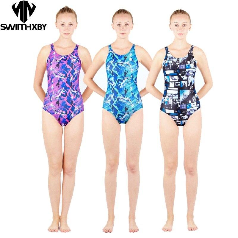 HXBY Professional Women Swimsuit One Piece Swimwear Sports Training Tights Lady Bodybuilding Bathing Suit Sizes S-XXL lady xxl