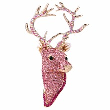 Bella Fashion Gold Tone Pink Bling Deer Head Brooch Pins Austrian Crystal Animal Brooch For Party Jewelry Child Christmas Gift