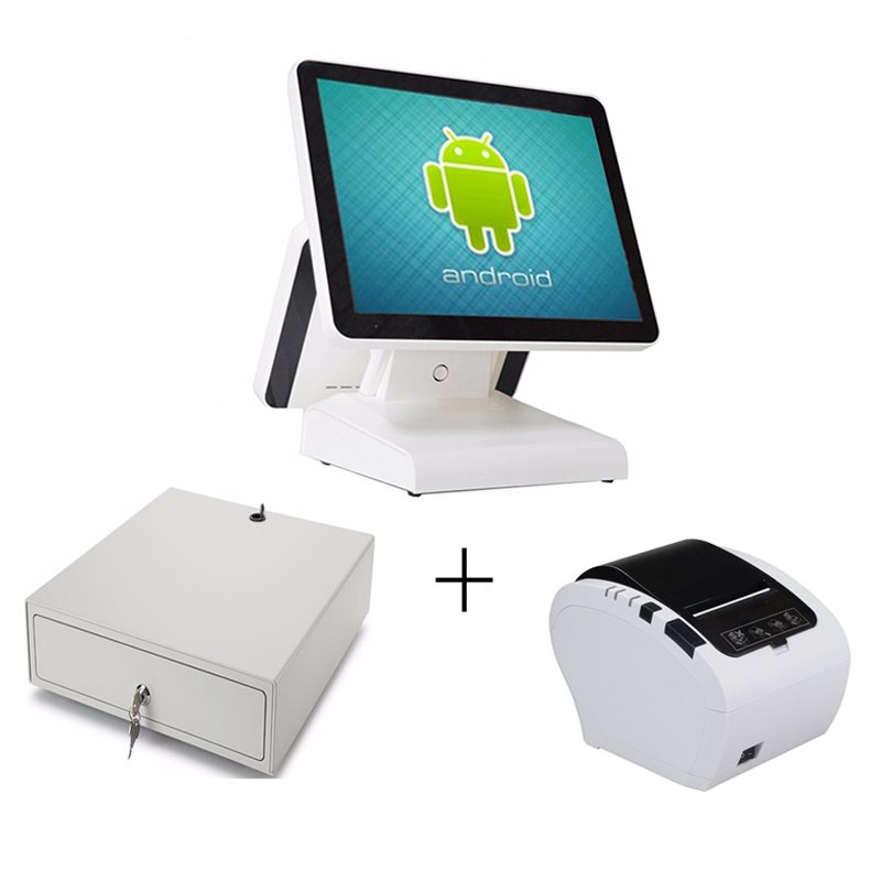 15 inch Android all in one pos system Dual screen touch cash register and 80mm thermal printer and 410mm POS cash drawer pure screen 15 inch cash register with printer cash drawer customer display and scanner all in one pc pos system for restaurant