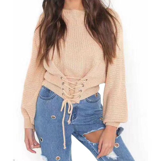 Women s Loose Jumper Knitted Sweater Long Sleeve Knitwear Pullovers Bandage Lace  Up Solid O-Neck Outwear Tops 2018 New Coming ba95f2d89
