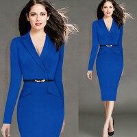 Autumn Dress Women 2016 New Fashion Long Sleeve Notched Slim Work Dress Suit Collar Pencil Dress