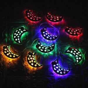 Image 1 - Islamic Eid Ramadan Decor 10/20 LED String Light Golden moon Star Home Decoration Lantern For Islam Muslim Party Decor Gift