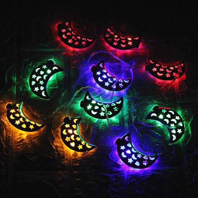 Islamic Eid Ramadan Decor 10/20 LED String Light Golden moon Star Home Decoration Lantern For Islam Muslim Party Decor Gift