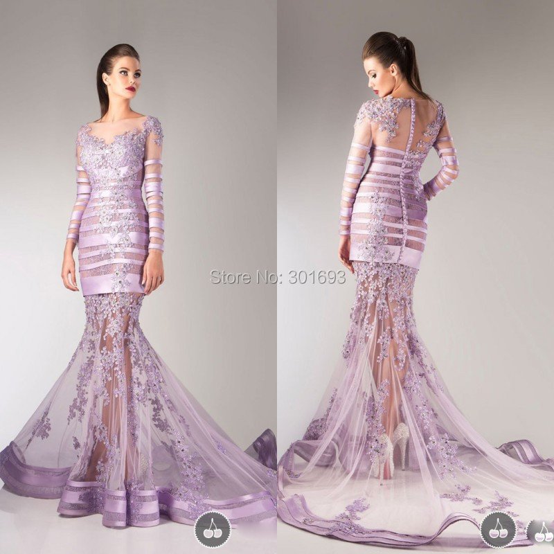 Online Shop ONP140 Sexy Lilac Lace Appliques Beaded Mermaid Long ...
