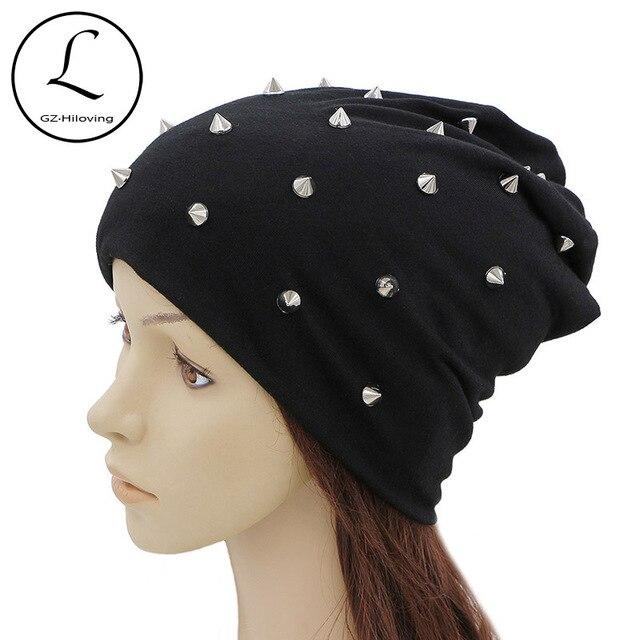GZHILOVINGL 2017 New Slouchy Women Autumn Hat Caps For Girl Rivet Beanie  Skullies Colors Casual Hip ce1cab4c727