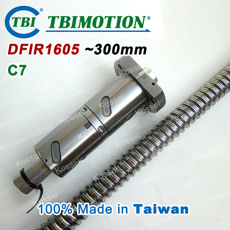 TBI DFI 1605 300mm Ball Screw  Milled ballscrew and end machined for high stability linear CNC diy kit винт tbi sfkr 0802t3d
