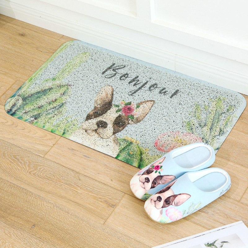 Flight Tracker 45x75cm Cactus Animal Wire Loop Pvc Mat Rug Foot Pad Household Dust Removal Non-slip Carpet Kitchen Doormat To Have A Long Historical Standing