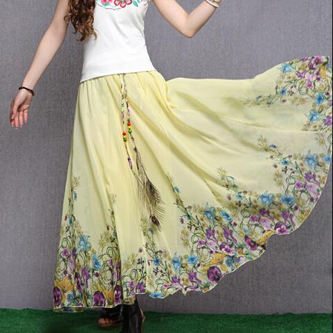 Nueva nación estilo de moda Bohemia falda larga de algodón para mujer faldas mujer otoño Beach Casual Ruffles gran péndulo de la falda Maxi NO023