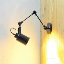 Creative rocker wall lamp folding arm wall sconce vintage loft light bar study office bedside bedroom restaurant cafe lamp bra modern concise creative art fashion white black wall lamp cafe bar restaurant bedroom office aisle decoration lamp free shipping