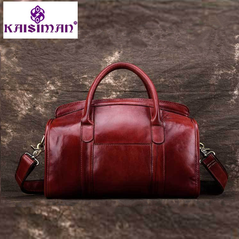 Genuine Leather Handbag Luxury Handbags Oil Wax Skin Women Bags Designer High Quality Grain Texture Tote Big Boston Shoulder Bag neverout oil wax style split leather bag for women vintage boston bag shoulder sac 3 color handbags tote zipper tote new handbag