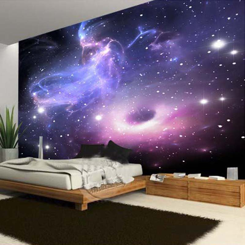 Galaxy Wall Mural aliexpress : buy custom any size 3d wall mural wallpaper for