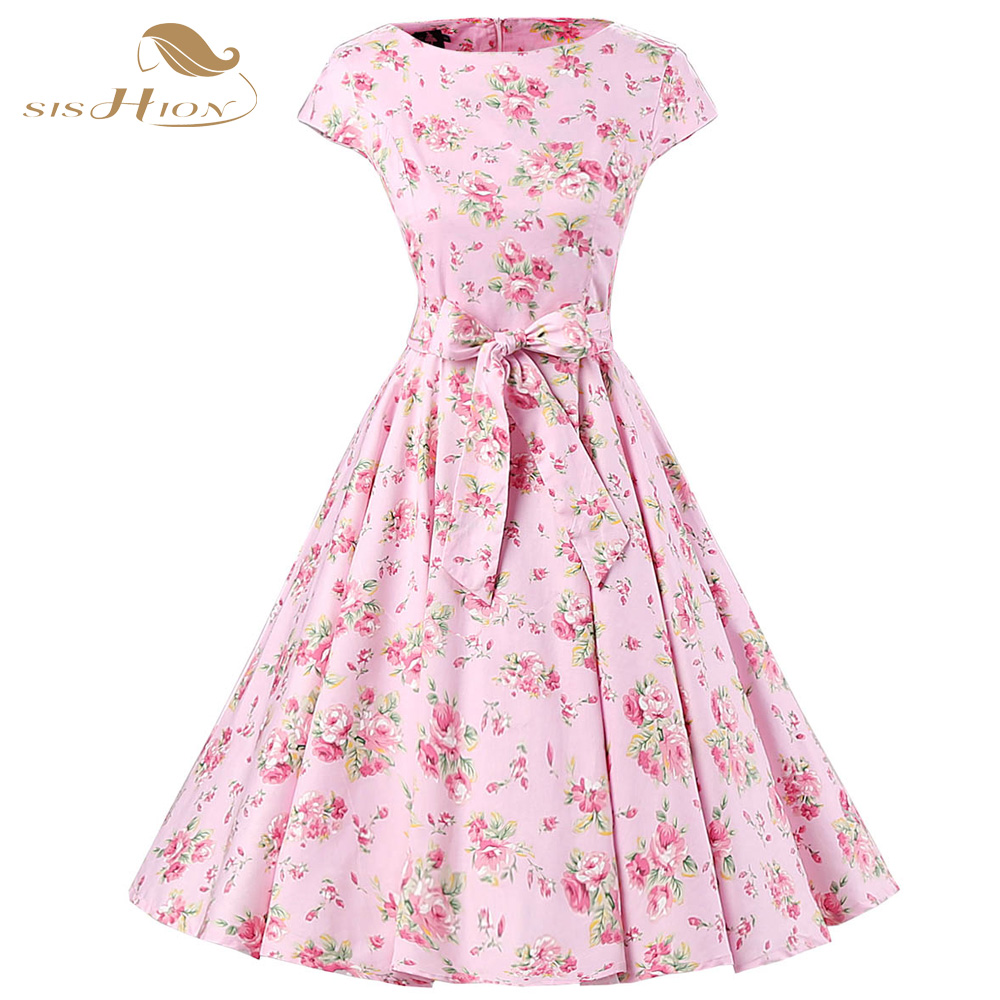 Womens Summer Elegant Belted 50s Vintage Dress Pin Up Retro Rockabilly Floral Print Cap Sleeve Pink