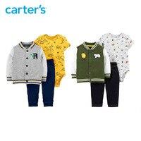 Carters 3Pcs baby boy clothes baseball jacket bodysuit long pants newborn baby clothing set spring autumn 121I623/121I724
