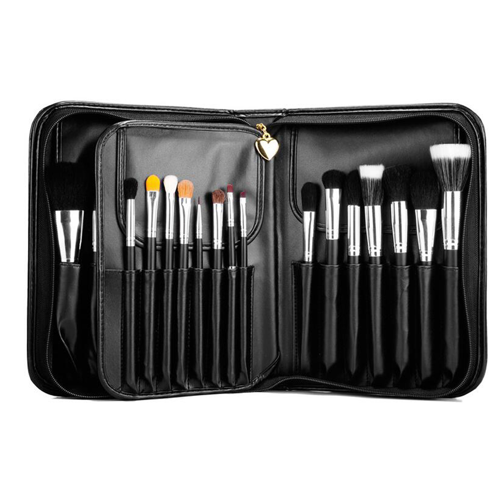 Professional 29Pcs Cosmetic Powder Makeup Brushes Tool Set with A Book Type Brush Bag Case eyeshadow angled powder Brush beauty golden black professional 4 pcs set salon party home use eyeshadow makeup brush cosmetic tool brushes with case