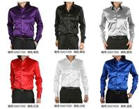 Men's shirt Silk satin Cultivate one's morality men's shirt Stretch satin long sleeve 20 colors size S 3XL