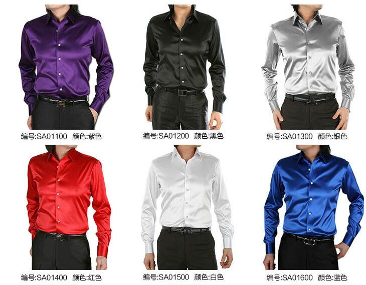 Men's shirt  Silk satin Cultivate one's morality men's shirt Stretch satin long sleeve 20 colors size S-3XL