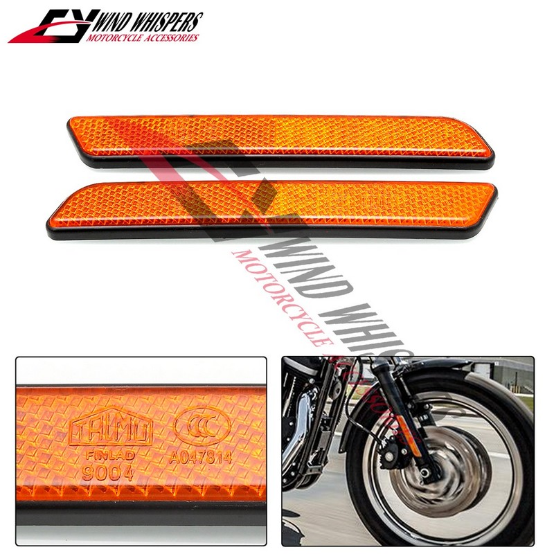 2pcs Automobile Motorcycle Motorcross Front Fork Leg Reflective Reflector for Harley Sportster 883 1200 Yellow