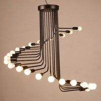 L3 Creative Art Loft Retro Spiral Stairs Chandelier Living Room Bar Study Room Office Pendant Lamp