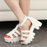 Fashion Nice Fashion Platform Open Toe Cutout Women Platform Shoes Thick Heel Platform Sandals Female Button