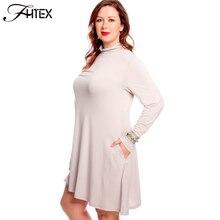 Artı Boyutu Sonbahar Elbise Bayan Moda Yeni Turtleneck Uzun Kollu rahat Gevşek Büyük Boy Parti Elbise 4XL 5XL 6XL Ofis elbise