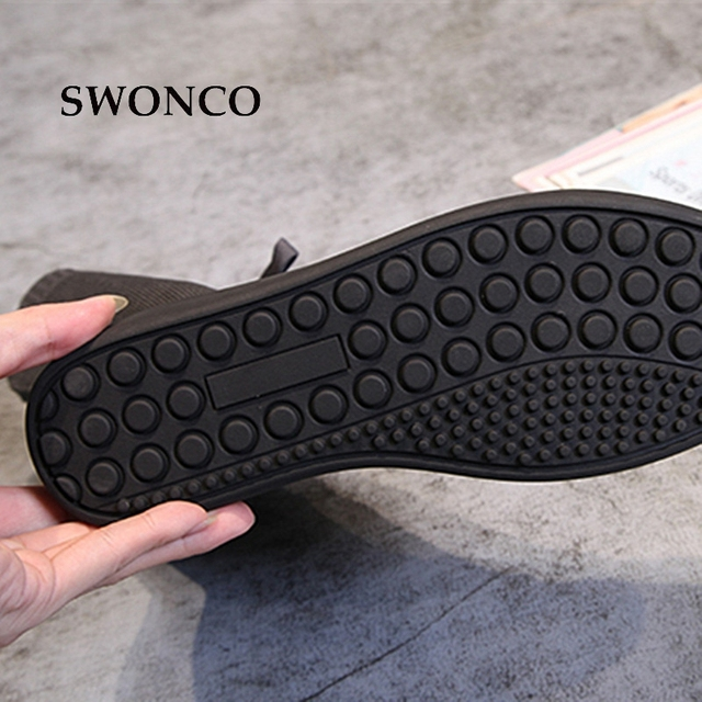 SWONCO Women's Boots 2018 Autumn Winter Genuine Leather Knitting Wool Ladies Shoes Women Boots Winter Mid Calf Boot Woman Shoes 5