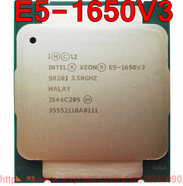 Intel Xeon CPU E5 1650V3 SR20J 3.50GHz 6 Çekirdekli 15M LGA2011 3 E5 1650 V3 resmi sürümü işlemci E5 1650V3 ücretsiz kargo E5 1650 V3