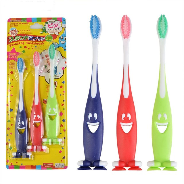 3 unids pack niños cepillo de dientes para niños de dibujos animados de  cepillo de c635df067177