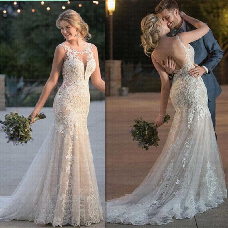 Embroidery Vestido De Noiva 2019 Summer Mermaid Wedding Dress Lace Appliques Bridal Gowns Lace Wedding Gowns Robe De Mariee