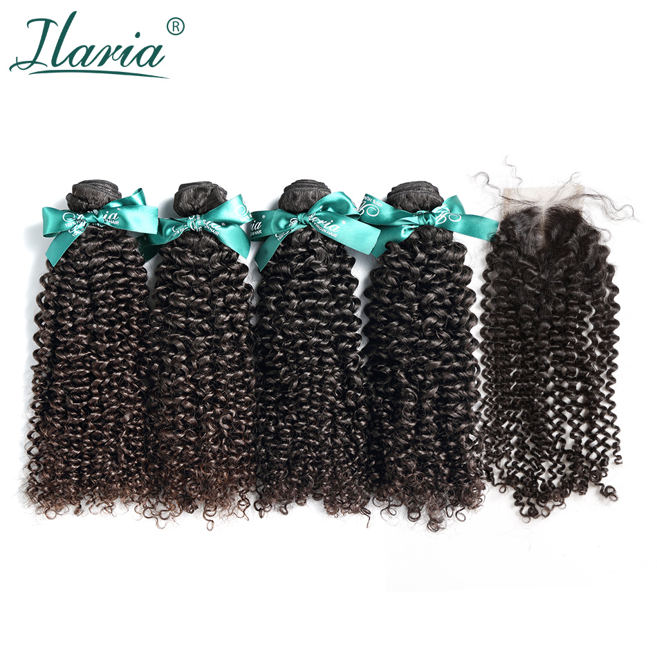 ILARIA HAIR Brazilian Kinky Curly Virgin Hair 4 Bundles With Closure 100% Human Hair Weave Bundles With Lace Closure No Shedding