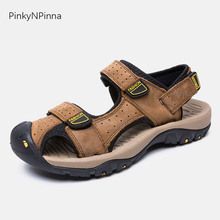 summer men's sandals genuine leather cow skin soft non-slip flat cover toe outdoor beach mountain hiking sports fishermen shoes цена