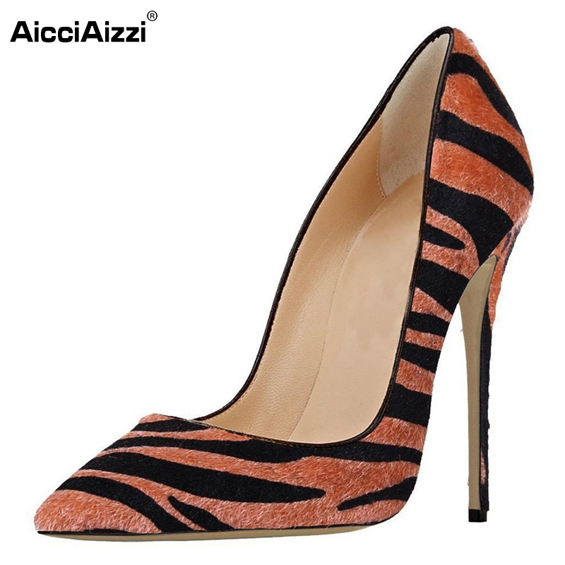 New Elegant Women Pumps Flock Zebra Pointed Toe Thin High Heels Pumps Woman Fashion High Quality Party Shoes Size 35-46 B086 comfy women pointed toe square high heels office shoes woman flock ladies pumps plus size 34 40 black grey high quality