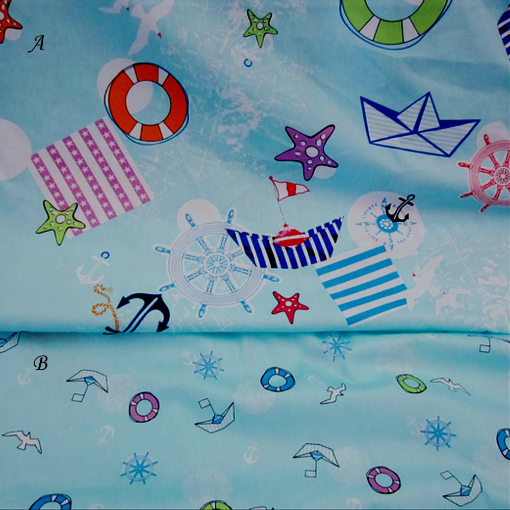 cartoon marine style sailing boat blue 100% cotton DIY kids crib bedding sheet homemade textile patchwork curtain fabric cloth